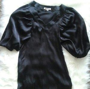Bcbgeneration Silk 3/4 Puff Sleeve Black Dress 0